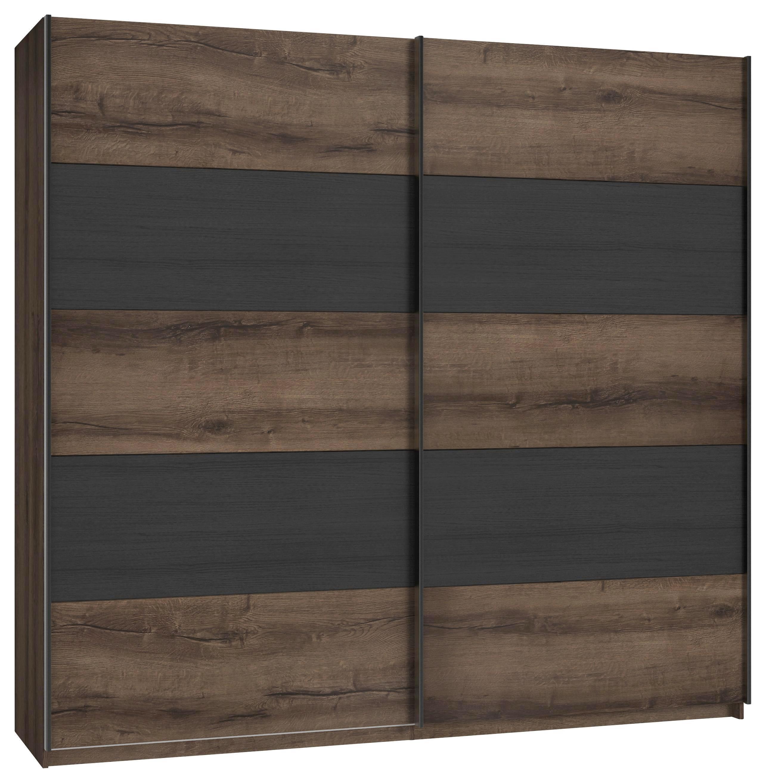 Tolóajtós Szekrény Chilly - fekete/tölgy színű, Lifestyle, műanyag/fém (220,1/209,7/61,2cm)