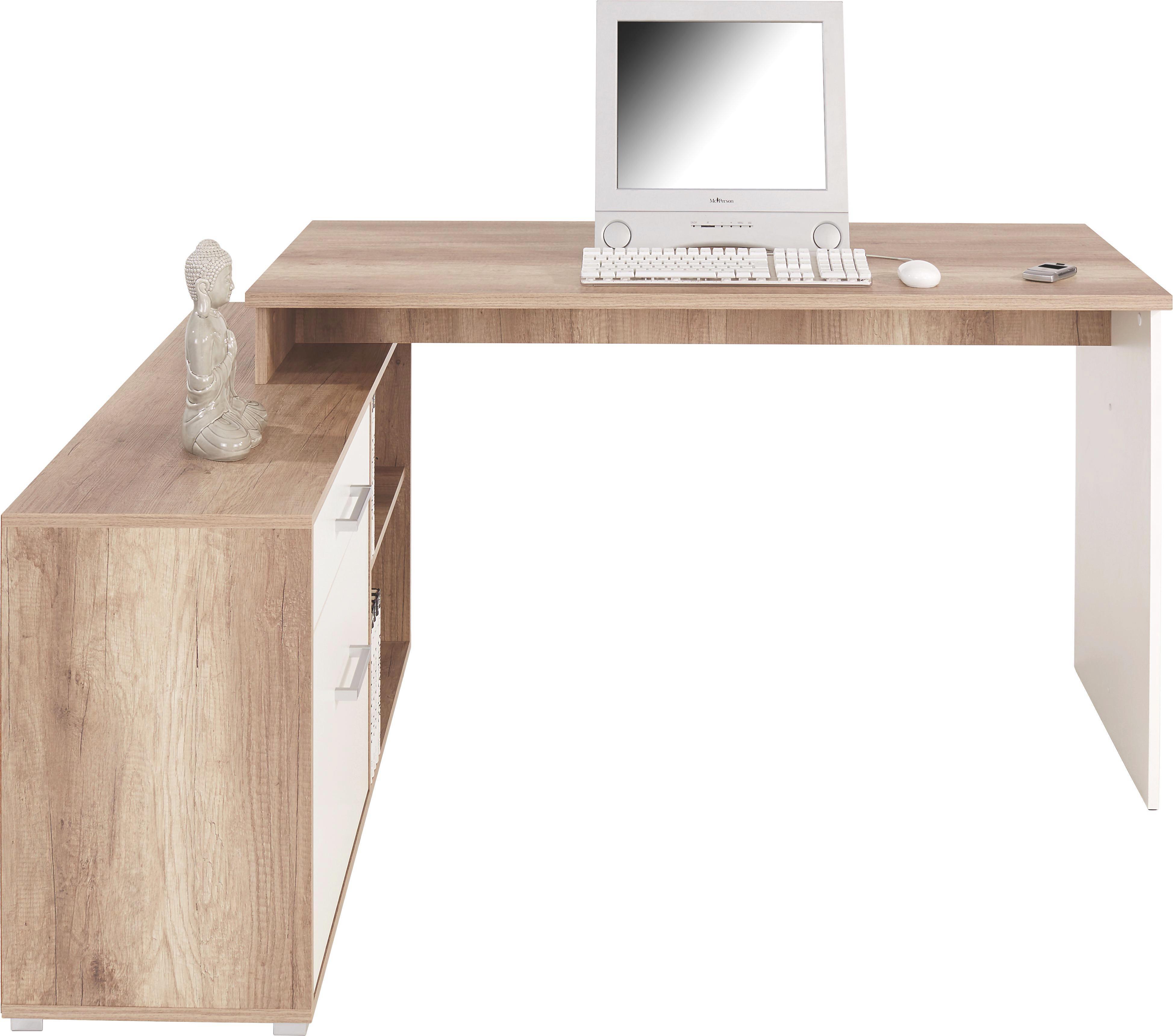 Sarok-íróasztal Ludwig - tölgy színű/fehér, modern, faanyagok (143/76/130cm)