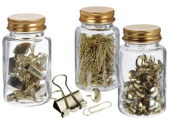 Büroklammern Aicha - Goldfarben, Basics, Glas/Metall (4,5/4,5/9cm)