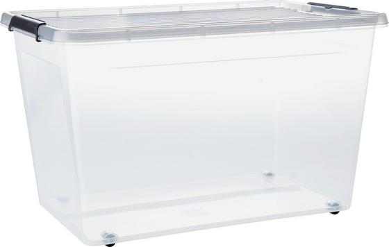 Doboz Fedéllel Műanyag - Áttetsző/Antracit, konvencionális, Műanyag (58/39/35cm)