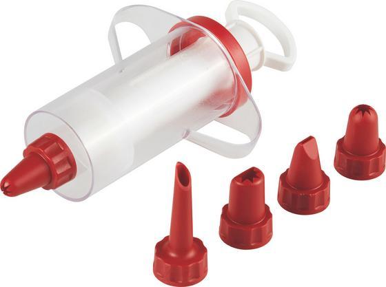 Garnierspritze Candy mit 6 Tüllen - Klar/Rot, KONVENTIONELL, Kunststoff (13cm) - Fackelmann