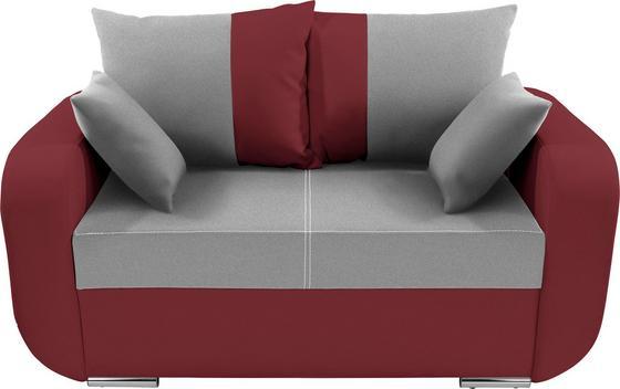 Zweisitzer-Sofa Faro - Chromfarben/Weinrot, KONVENTIONELL, Holz/Textil (150/90/92cm)