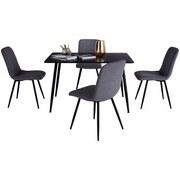 Tischgruppe Völs - Schwarz/Grau, LIFESTYLE, Holz/Holzwerkstoff (120/76/80cm)