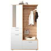 Garderobe Entra B: 117 cm Weiß - Eichefarben/Weiß, MODERN, Glas/Holzwerkstoff (117/198/38cm) - MID.YOU