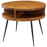 Couchtisch Holz mit Ablageflächen, Sheesham - Sheeshamfarben/Schwarz, MODERN, Holz/Metall (60/60/50cm) - Livetastic