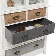 Kredenc Florina - bílá/šedá, Moderní, kov/dřevo (75,5/175/32cm) - MODERN LIVING