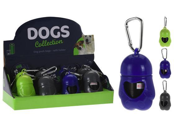Hundekotbeutel mit Spender - Blau/Schwarz, Basics, Kunststoff (5/7cm)