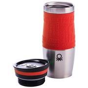 Becher-To-Go, Benetton Vakuum, 380 ml, Rot/Edelstahl - Edelstahlfarben/Rot, Basics, Kunststoff/Metall (6/19.8cm) - Benetton