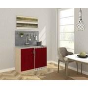 Miniküche B: 100 cm Rot - Edelstahlfarben/Eichefarben, MODERN, Holzwerkstoff/Metall (100/87/60cm) - MID.YOU