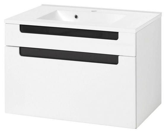 Waschtischkombi Siena 80cm Weiß/hglz Anthrazit - Anthrazit/Weiß, MODERN, Holzwerkstoff/Kunststoff (80/54/47cm)