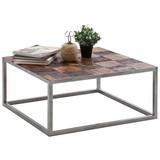 Couchtisch mit Massiver Tischplatte Binto Braun/Silber - Silberfarben/Braun, LIFESTYLE, Holz/Metall (80/80/35cm) - Landscape