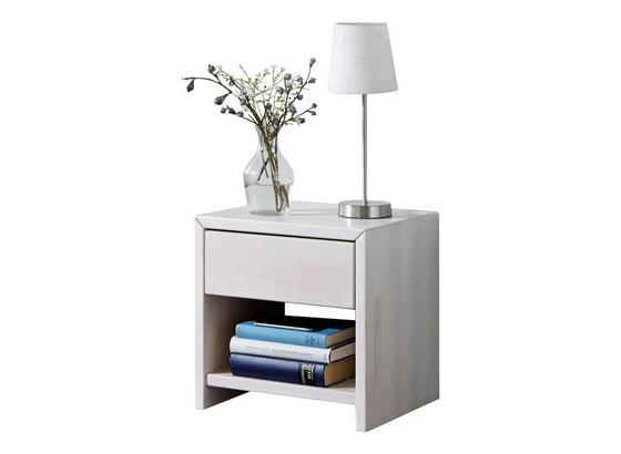 Nachtkästchen Julia B: 40 cm Eiche/ Weiß - Weiß, Design, Holz (40/40/40cm)
