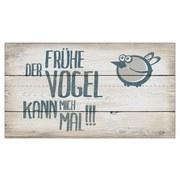 Dekopaneel der Früher Vogel Kann Mich Mal - Naturfarben, MODERN, Holz/Papier (15/27cm)