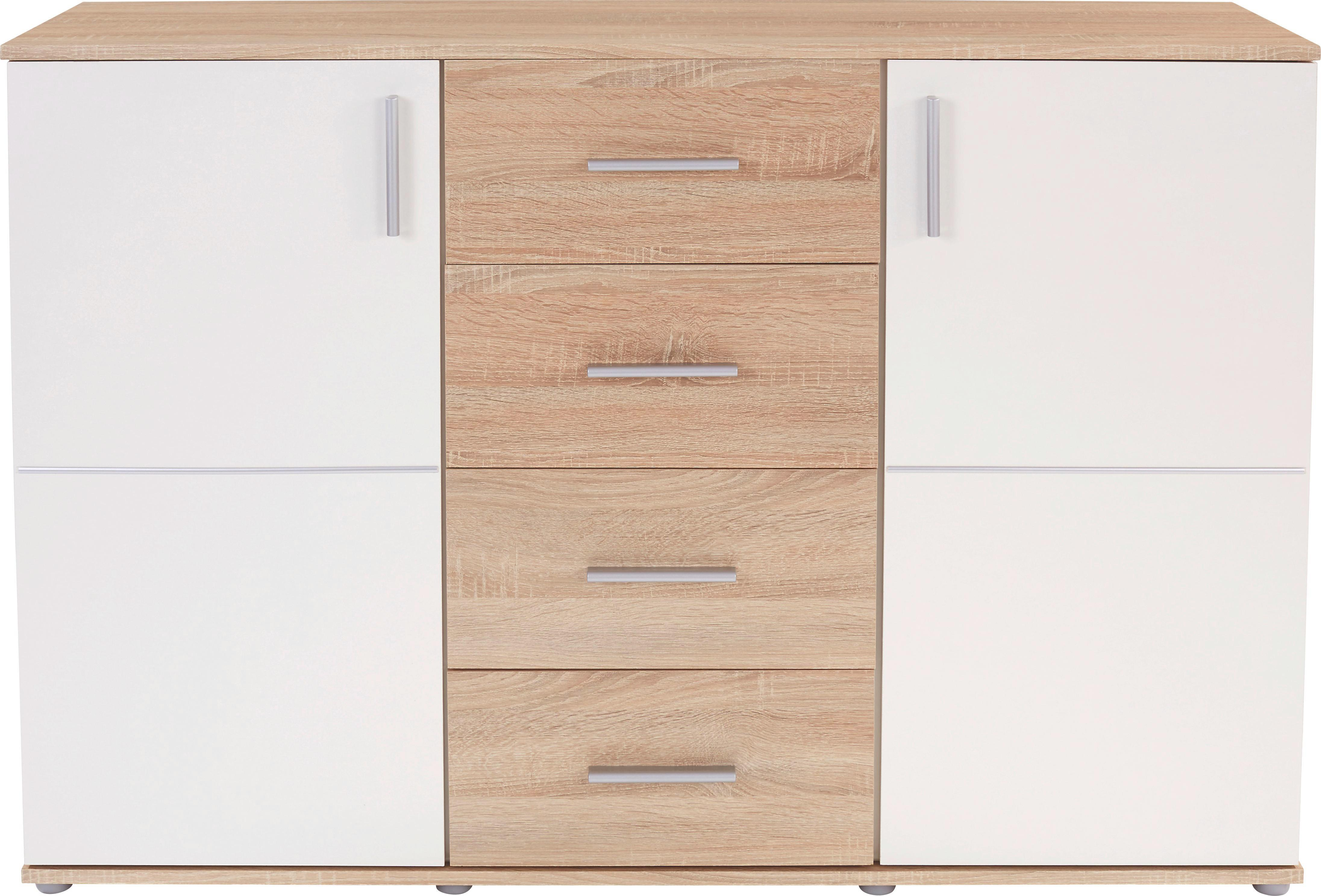 Komód Ina - Sonoma tölgy/fehér, modern, faanyagok (132,2/95,1/38,6cm)