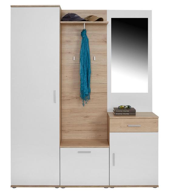 Előszobafal Mia - tölgy színű/fehér, modern, üveg/faanyagok (150/190/30cm)