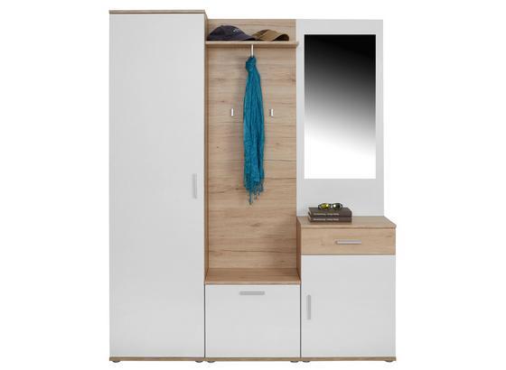 Garderobe Mia B:150cm Weiß Matt/san Remo Eiche Dekor - Eichefarben/Weiß, MODERN, Glas/Holzwerkstoff (150/190/30cm)