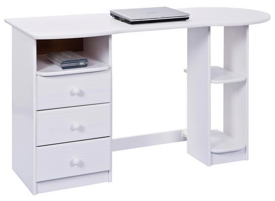Schreibtisch Massiv mit Stauraum B 137 Touchround Weiß - Weiß, Basics, Holz (137/76/61cm) - Livetastic