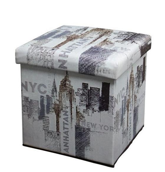 Összecsukható Ülőke Nyc - multicolor, modern, textil/faanyagok (36/36/36cm)