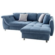 Ecksofa mit Schlaffunktion + Zierkissen Agira, Mikrofaser - Chromfarben/Blau, Design, Textil (250/190cm) - Livetastic