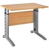 Schreibtisch Höhenverstellbar B 90cm Serie 1215, Buche Dekor - Silberfarben/Buchefarben, Basics, Holzwerkstoff/Metall (90/91-109,5/65cm) - MID.YOU