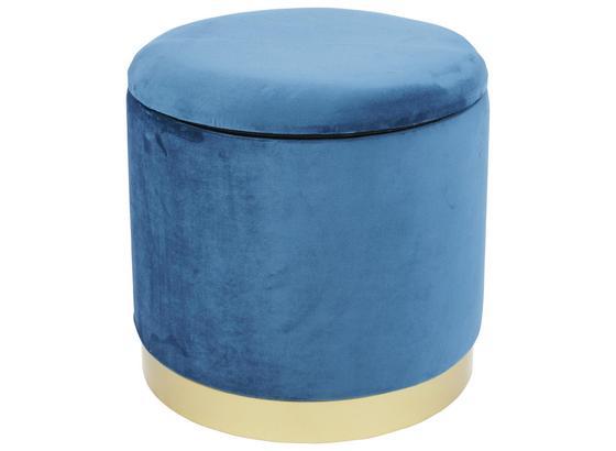 Taburet S Úložným Priestorom Velvet - modrá, Moderný, kompozitné drevo/textil (35/35/35cm)