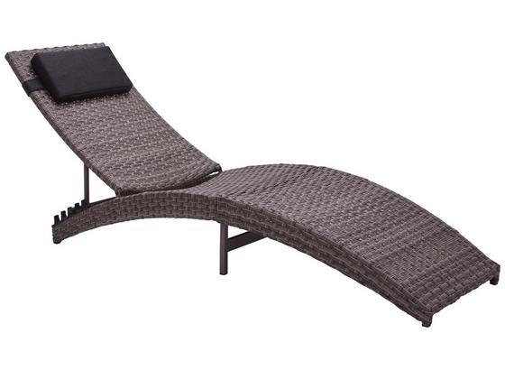 Sonnenliege Duna, Aluminium Kunststoffgeflecht,verstellbar - Schwarz/Grau, MODERN, Kunststoff/Textil (60/54-72/178-189cm) - Ombra