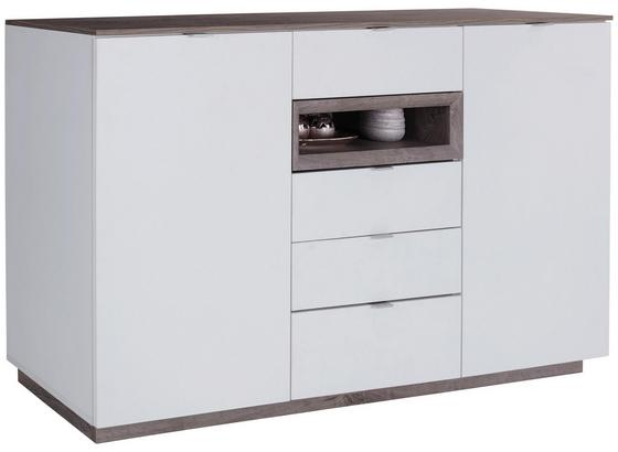 Sideboard mit Soft-Close B 180cm Nagos, Weiß/Eiche Dekor - Eichefarben/Weiß, MODERN, Holzwerkstoff (180/93,4/43,3cm)