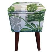 Taburet Wood - biela/zelená, Konvenčný, textil (31/44/31cm)