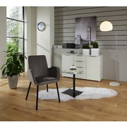 Armlehnstuhl Lounge Samtbezug Grau Gepolstert - Schwarz/Grau, MODERN, Textil/Metall (59,5/88,5/60,5cm) - Ombra