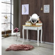 Schminktisch Dorry B: 80 cm Weiß/Kiefer - Naturfarben/Weiß, MODERN, Glas/Holzwerkstoff (80/132/40cm) - James Wood