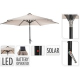 Sonnenschirm DM: 270 H: 248 cm mit Led und Solarbetrieb Taupe - Taupe/Schwarz, Basics, Metall (270cm)