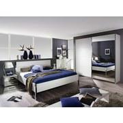 Bett mit Kopfteil im Lederlook 180x200 Moita, Weiß - Chromfarben/Weiß, Design, Holzwerkstoff/Textil (180/200cm) - Xora