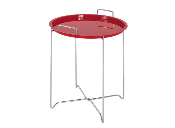 Odkládací Stolek Dan - barvy chromu/červená, Lifestyle, kov/umělá hmota (45/51cm)
