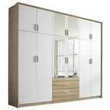 Drehtürenschrank mit Spiegel + Laden 275cm Hildesheim, Weiß - Eichefarben/Weiß, Design, Holzwerkstoff (275/231/56cm) - Carryhome