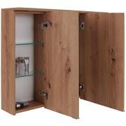 Spiegelschrank Soft-Close +led Rimini B: 100cm, Eiche Dekor - Eichefarben/Weiß, KONVENTIONELL, Glas/Holzwerkstoff (100/72/22cm)