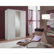 Drehtürenschrank mit Spiegel 135cm Osaka, Weiß Dekor - Weiß, KONVENTIONELL, Glas/Holzwerkstoff (135/199/58cm) - Xora