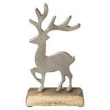 Dekohirsch Rudolph - Silberfarben, Basics, Holz/Metall (18/10/5,5cm)