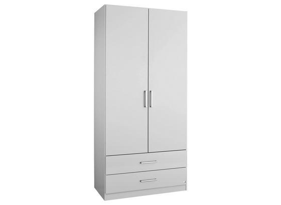 Drehtürenschrank mit Schubladen 91cm Albero, Weiß Dekor - Weiß, KONVENTIONELL, Holzwerkstoff (91/197/54cm)