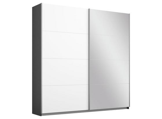 Schwebetürenschrank mit Spiegel 181cm Belluno, Weiß Dekor - Dunkelgrau/Weiß, MODERN, Holzwerkstoff (181/210/62cm)