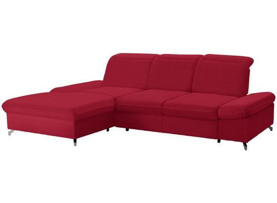 Wohnlandschaft in L-Form Credo ca. 200x297 cm - Chromfarben/Rot, MODERN, Textil (200/297cm)