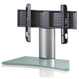 TV-rack Windoxa Mini B: 70 cm - Klar/Silberfarben, KONVENTIONELL, Glas/Metall (70/52/30cm)