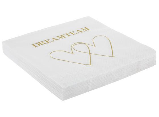 Servítky Dreamteam - biela/zlatá, papier (33/33cm)