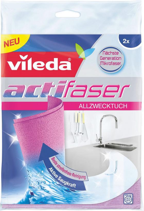 Schwammtuch Vileda Actifaser Allzwecktuch - Altrosa, KONVENTIONELL, Textil (19/25/1,2cm)
