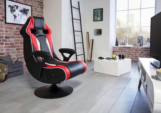 Gamingstuhl in Schwarz, Rot und Weiß