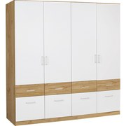 Skříň Šatní Aalen-extra - bílá/barvy dubu, Konvenční, dřevěný materiál/sklo (181/197/54cm)