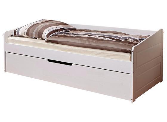 Ausziehbett inkl. Schublade Echtholz 90x200 Micki, Weiß - Weiß, Natur, Holz (90/200cm) - Livetastic