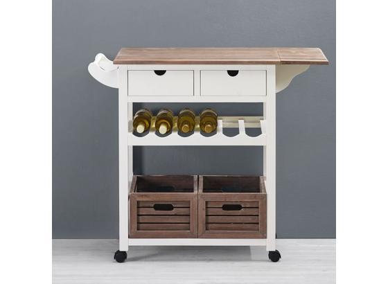 Servírovací Vozík Cookie - bílá/barvy borovice, dřevo/umělá hmota (85/82/36cm) - Premium Living