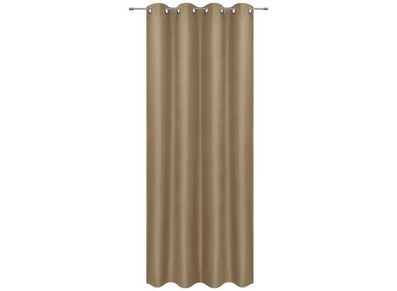 Ösenvorhang Barnaby - Beige, KONVENTIONELL, Textil (140/245cm) - Ombra