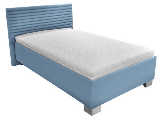 Čalouněná Postel Como 120x200 - bílá/světle modrá, dřevo/textil (214/142/97cm)