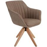 Drehstuhl Belluno Grau-Beige mit Drehbarer Sitzfläche - Greige/Eichefarben, MODERN, Holz/Textil (60/88/57,5cm) - Luca Bessoni